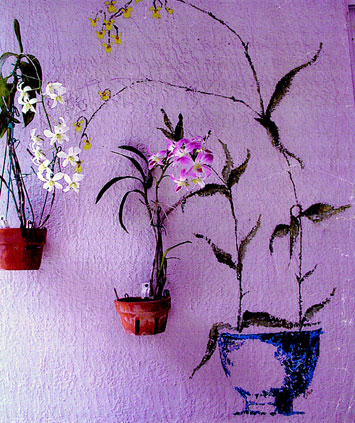 A clever orchid display using Hang-A-Pot and painted orchids.