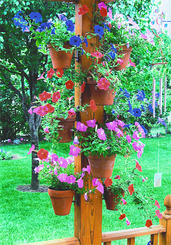 Flower poles outdoor hanging planters container garden for Hanging flower pots ideas